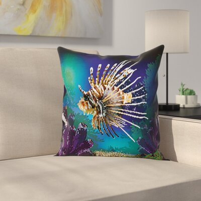 Bubble Fish and Plants Square Pillow Cover Size: 24 x 24