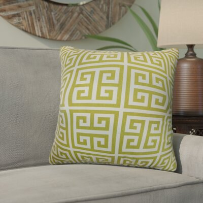 Yula Greek Key Cotton Throw Pillow Color: Green