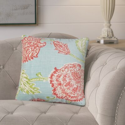 Bettine Floral Throw Pillow Color: Aqua/Red