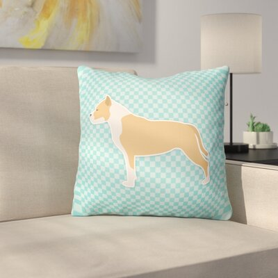 Staffordshire Bull Terrier Indoor/Outdoor Throw Pillow Size: 14 H x 14 W x 3 D, Color: Blue