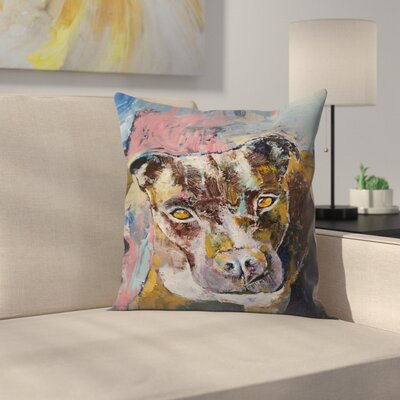 Michael Creese Brindle Pit Bull Throw Pillow Size: 14
