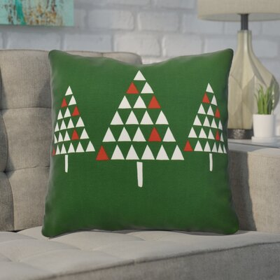 Christmas Trees Throw Pillow Size: 16 H x 16 W, Color: Green