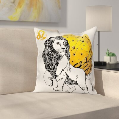 Astrology Zodiac Leo Symbol Art Square Pillow Cover Size: 24 x 24