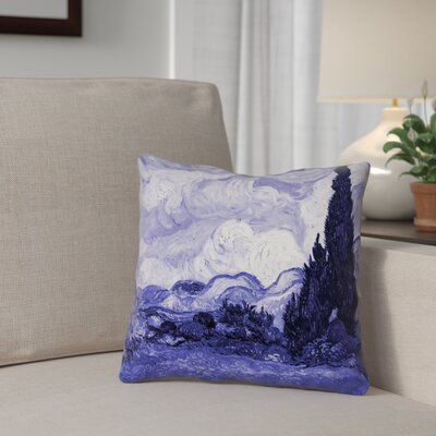 Meredosia Wheat Field with Cypresses Faux Linen Throw Pillow Color: Blue, Size: 16 H x 16 W