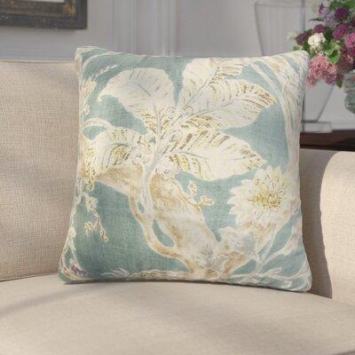 Letizia Floral Linen Throw Pillow Color: Blue