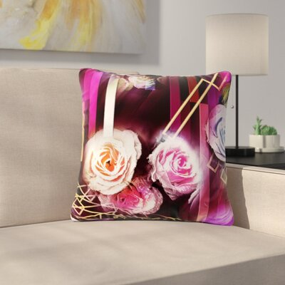 Dawid Roc Roses-Floral Geometric Stripes Outdoor Throw Pillow Size: 18 H x 18 W x 5 D