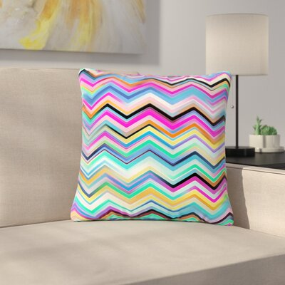 Dawid Roc Colorful Rainbow Chevron Outdoor Throw Pillow Color: Multicolor, Size: 18 H x 18 W x 5 D