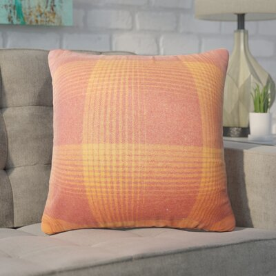 Wigginton Plaid Down Filled Velvet Throw Pillow Size: 22 x 22, Color: Persimmon