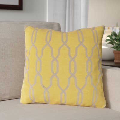 Edgell Geometric Throw Pillow Size: 18 H x 18 W x 4 D, Color: Golden Rod/Parchment, Filler: Down