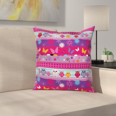 Owls, Flowers and Butterflies Kids Pillow Cover Size: 24 x 24