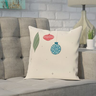 Ryman Light Bright Decorative Holiday Print Throw Pillow Size: 16 H x 16 W, Color: Ivory/Orange
