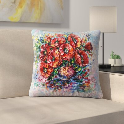 Olena Art Poppies in Vase Throw Pillow Size: 14x14