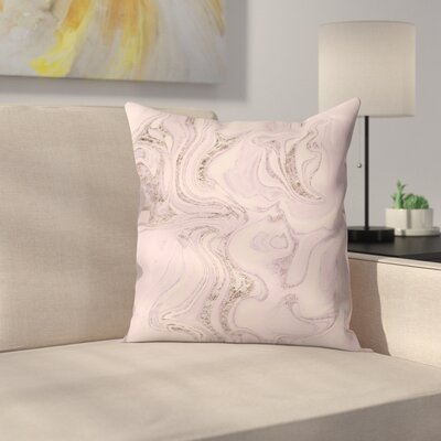 Marble Glitter Throw Pillow Size: 18 x 18