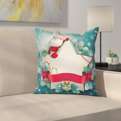 Christmas Santa Star Snowflake Square Pillow Cover Size: 16 x 16