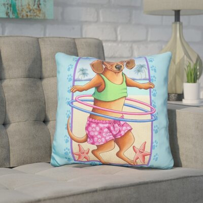 Coreopsis Dachshund Hula Hoop Throw Pillow