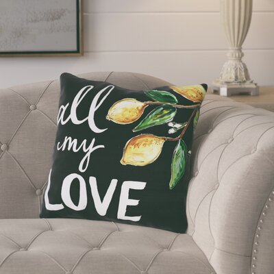 Bradcliff All My Love Lemons Throw Pillow Size: 16