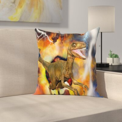 Dinosaur Explosion Theme Animal Square Cushion Pillow Cover Size: 20 x 20