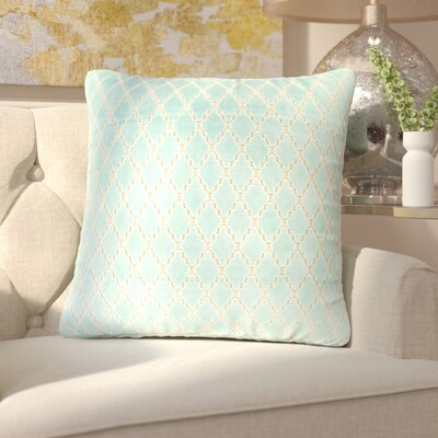 Boughton Cotton Throw Pillow Color: Mint, Filler: Down