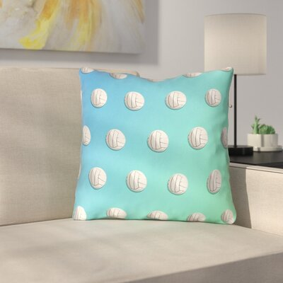 Square Ombre Volleyball Throw Pillow Size: 14 x 14, Color: Blue/Green