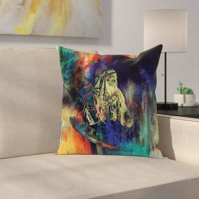 Native American Case Grunge Indian Square Pillow Cover Size: 16 x 16