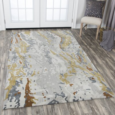 Gomes Hand-Tufted Wool Gray Area Rug Rug Size: Rectangle 9 x 12