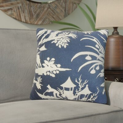 Delana Floral Cotton Throw Pillow Cover Color: Blue