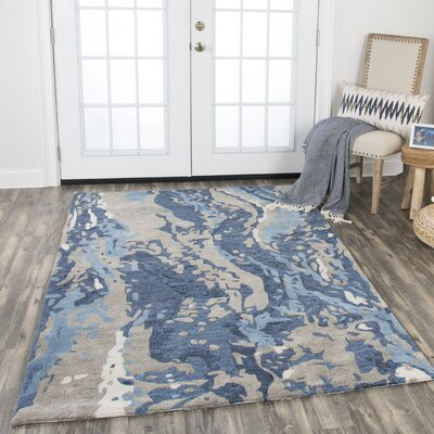 Gomes Hand-Tufted Wool Blue Area Rug Rug Size: Rectangle 5 x 8