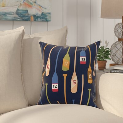 Crider Oar Numbers Print Indoor/Outdoor Throw Pillow Color: Navy, Size: 16 x 16