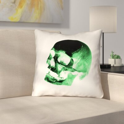 Skull Outdoor Throw Pillow Color: Green/Black/White, Size: 18 x 18