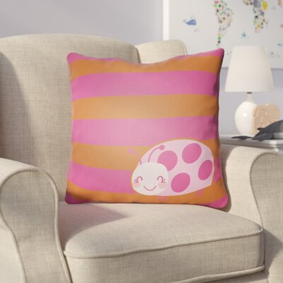 Colinda Ladybug Throw Pillow Size: 22 H �x 22 W x 5 D, Color: Pink/Orange