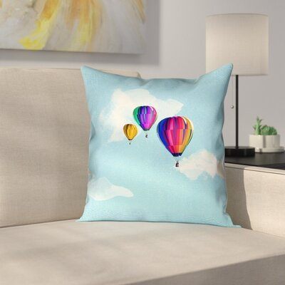 Hot Air Balloons Square Pillow Cover Size: 18 x 18