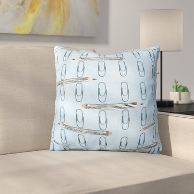 Humphery Organized Paper Clips Outdoor Throw Pillow Color: Blue