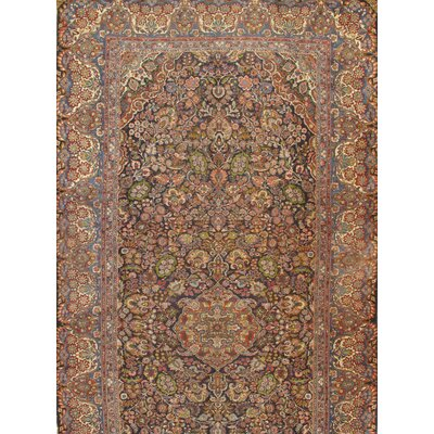 Persian Qazvin Hand-Knotted Wool Brown Area Rug