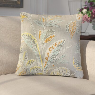 Marino Floral Linen Throw Pillow Color: Brown