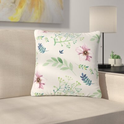 Louise Summer Flower Pattern Outdoor Throw Pillow Size: 18 H x 18 W x 5 D