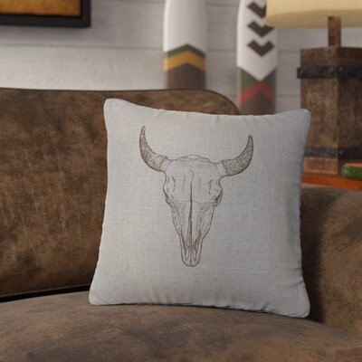 Lansdown Bull Skull Throw Pillow Color: Gray