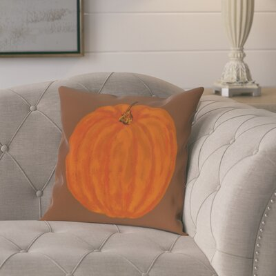Plyler Pumpkin Holiday Print Throw Pillow Size: 16 H x 16 W, Color: Brown