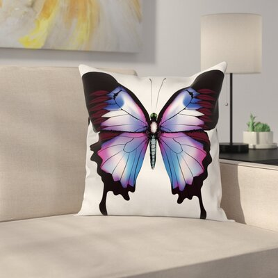 Swallowtail Vivid Magic Animal Square Cushion Pillow Cover Size: 24 x 24, Color: Blue