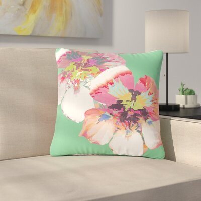 Love Midge Graphic Flower Nasturtium Floral Outdoor Throw Pillow Size: 18 H x 18 W x 5 D, Color: Green