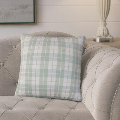 Schwaller Plaid Cotton Throw Pillow Color: Aqua