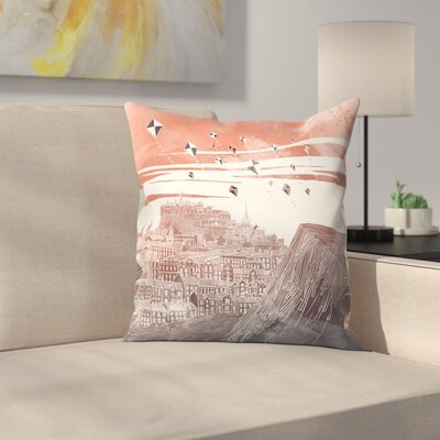 Kites at Dawn Throw Pillow Size: 16 x 16, Color: Orange