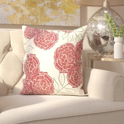 Birness Flower Throw Pillow Size: 16 H x 16 W, Color: Ivory / Rust