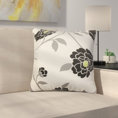 Stroh Floral Cotton Throw Pillow Color: Black