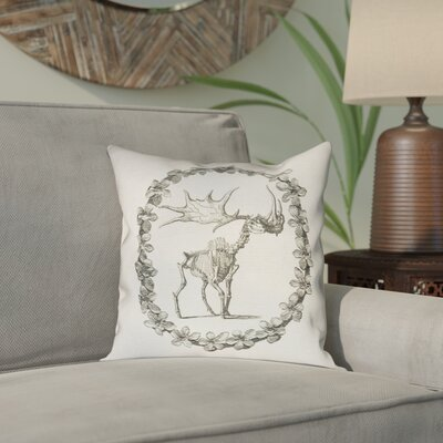 Brie Vintage Elk Skeleton Indoor/Outdoor Throw Pillow Size: 18 x 18