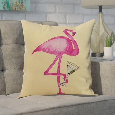 Carmack Single Flamingo Throw Pillow Color: Yellow, Size: 16 x 16