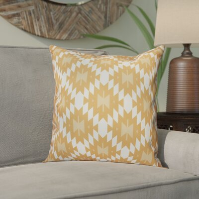Willa Jodhpur Kilim Geometric Outdoor Throw Pillow Size: 18 H x 18 W, Color: Gold