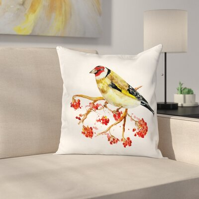 Wild Bird on Berry Branch Square Pillow Cover Size: 18 x 18