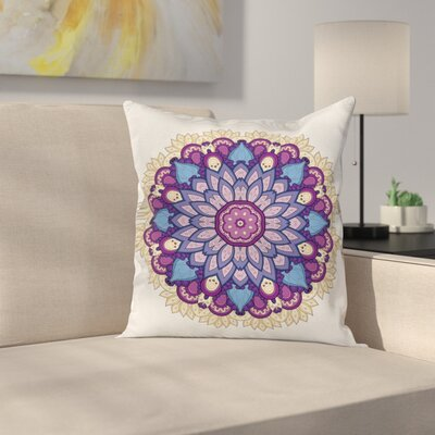 Fabric Elegant Floral Ornament Square Pillow Cover Size: 16 x 16