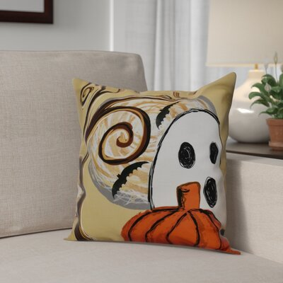 Flipping for Fall Ooky Spooky Outdoor Throw Pillow Size: 16 H x 16 W x 2 D, Color: Gold