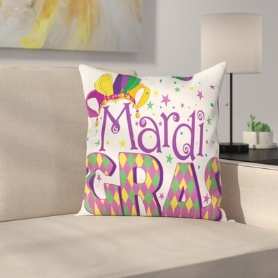 Mardi Gras Joyful Party Theme Square Cushion Pillow Cover Size: 18 x 18